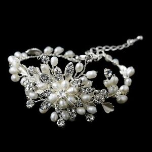 Bridal Wedding Luxury Handmade Crystal Pearl Bracelet Jewellery