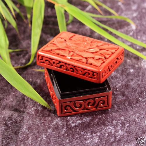 geschnitzte chinesische Lackdose Handarbeit  Blumenmotiv  7 x 5 x 3,3 cm