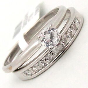 Bridal-Ring-Set-14K-White-Gold-Cubic-Zirconia-Stones-0-76TCW-Solitaire-Prong-set