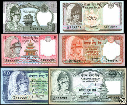 NEPAL Rupees 2,5,10,20,50,100 SET 6 NOTES w//sign #14 29 to 34 and 38 UNC p