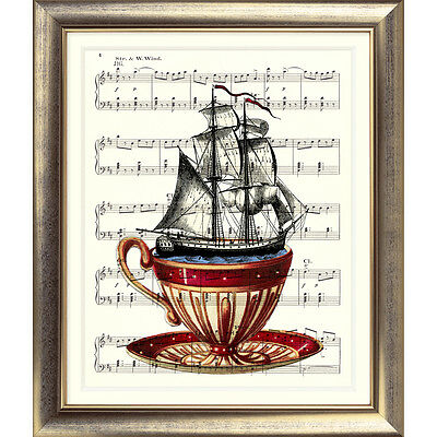 ART PRINT ORIGINAL VINTAGE MUSIC SHEET Page SHIP TEACUP Nautical sea Seaside