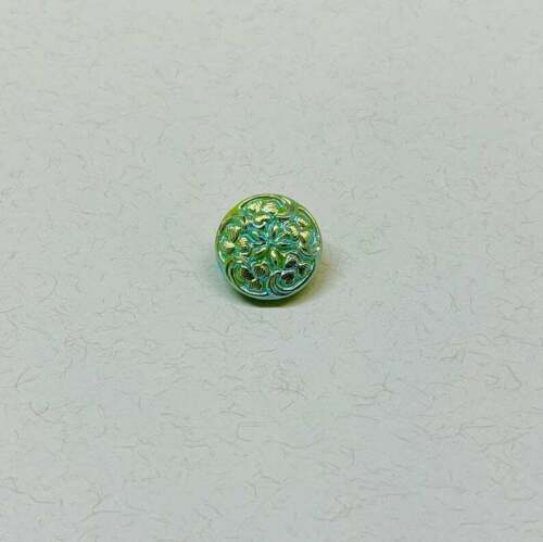 Lime Green Moonglow AB finish 13 mm Czech Glass Button