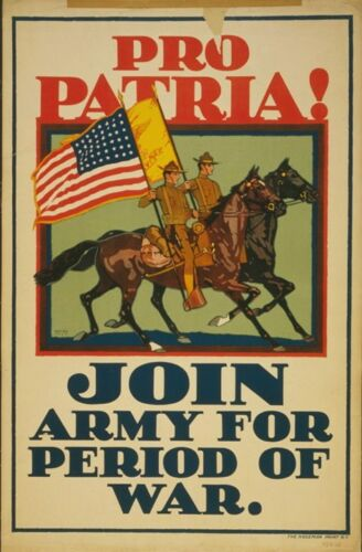 Pro Patria US Army Cavalry World War 1 Recruiting Poster 1917 7x5 inch Reprint