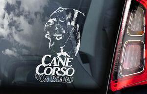 Cane Corso on Board - Car Window Sticker - Dog Sign Decal Italian Mastiff - V04