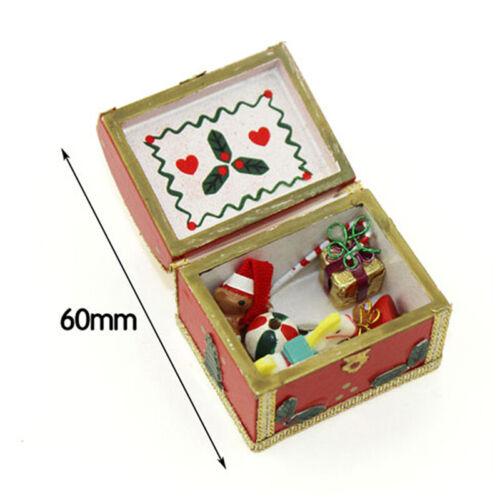 1:12 Miniature christmas box gift dollhouse diy doll house decor accessories E9H
