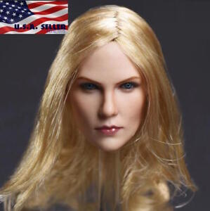 """1//6 American female head sculpt Blonde hair for Hot toys Phicen 12/"""" figure ❶USA❶"""