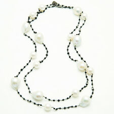 Long pearl necklace with black spinel
