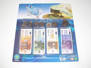 Accessoires Marchande Set Jeu Monnaie Factice Euro Pièce + Billets