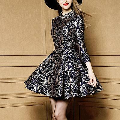New Womens 3/4 Sleeve High-end Autumn Beads Jacquard Fashion Mini Dress 3223