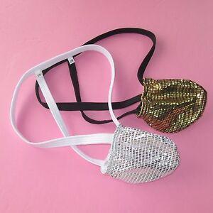 K420-FD-Mens-Bulge-Pouch-String-Thong-Foiled-Metallic-Shiny