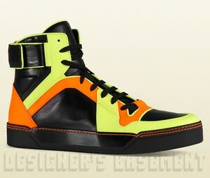593b94970f5 GUCCI Mens 10.5G  black Neon BASKETBALL Grip-strap High Top Sneakers ...