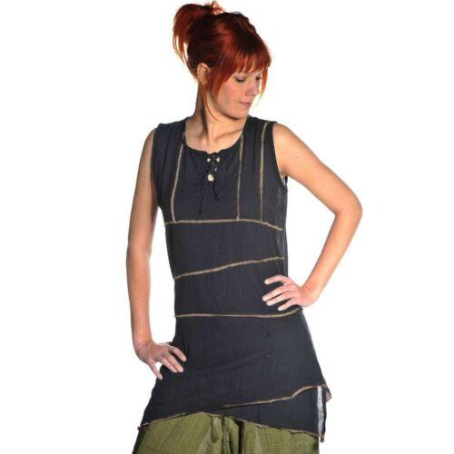 Ärmellos Bluse Oberteil Longshirt Kleid Top lang Träger Tank Freizeit Hippie Goa