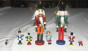Nutcracker-Ornaments-Painted-SEVEN-Wooden-ONE-Metal