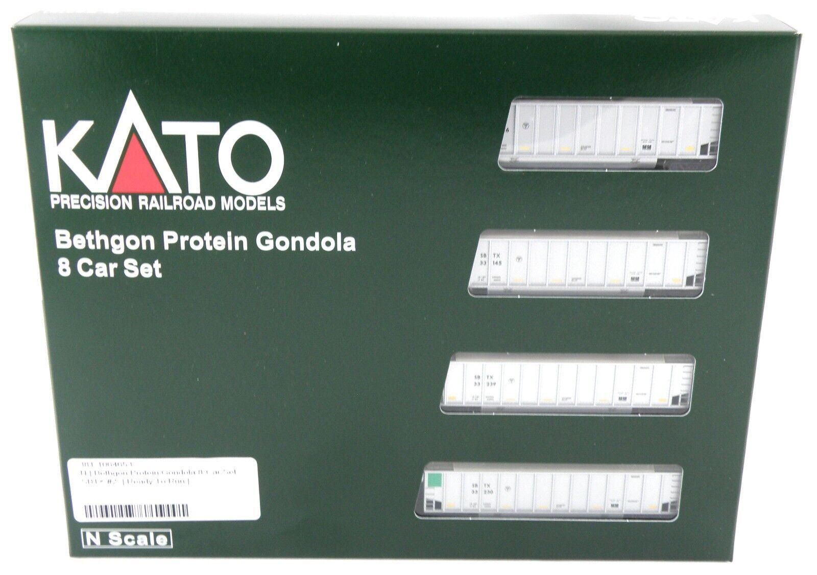 N Scale Bethgon Protein Gondola 8-Car Set - SBTX  2 - KATO  106-4653
