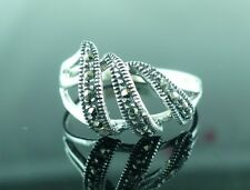 Sterling Silver & MARCASITE Art Deco Style Ring Size N (US Size 7)