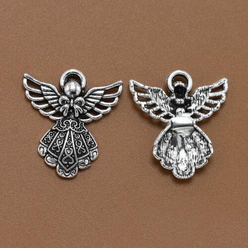 10pcs Antique Silver Wing Angel Charms Perles Pendentifs pour À faire soi-même Bracelet Collier