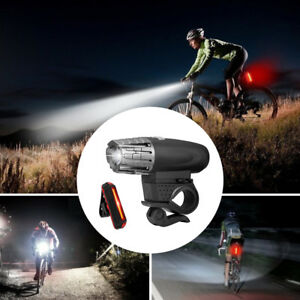 USB Rechargeable LED Bicycle Bright Bike Front Headlight and Rear Tail Light lot