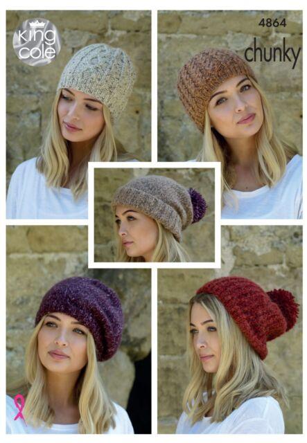 Ladies Slouchy Hats Beret Knitting Pattern 5 Designs Chunky Yarn