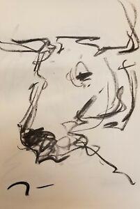 Original Charcoal Paper Sketch Drawing 11x17 Man Portrait Crow Jose Trujillo