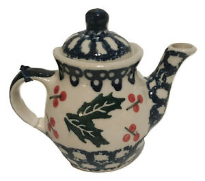 Polish Pottery Christmas Holly Design Teapot Handcrafted ...