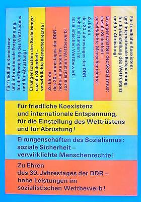 Ddr Plakat Poster 952 | 30. Jahrestag Der Ddr Koexistenz | 81 X 57 Cm Original Volumen Groß