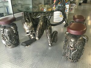 A Rare Alien Table With 4 Stools Unique Scrap Metal Art Ebay