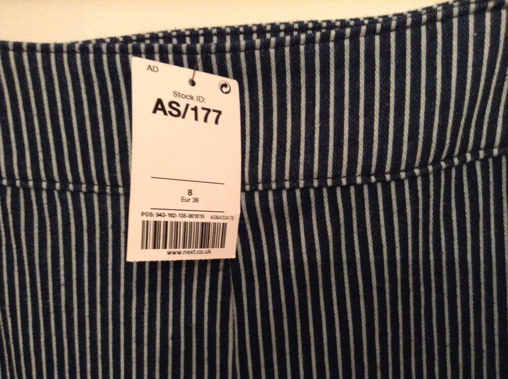 Bnwt ❤ Next ❤ Taille 8 Pleine Longueur Jeggings Extensible Neuf Rayures Bleu Mélange Coton Neuf