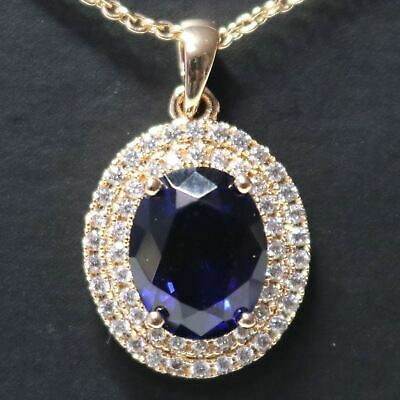 4Ct Oval Blue Sapphire Necklace Women Birthday Jewelry 14K Yellow Gold Plated