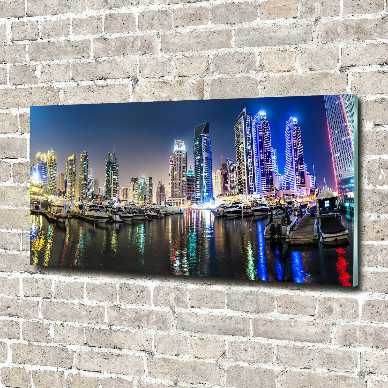 Wandbild aus Plexiglas® Druck auf Acryl 140x70 Dubai bei Nacht