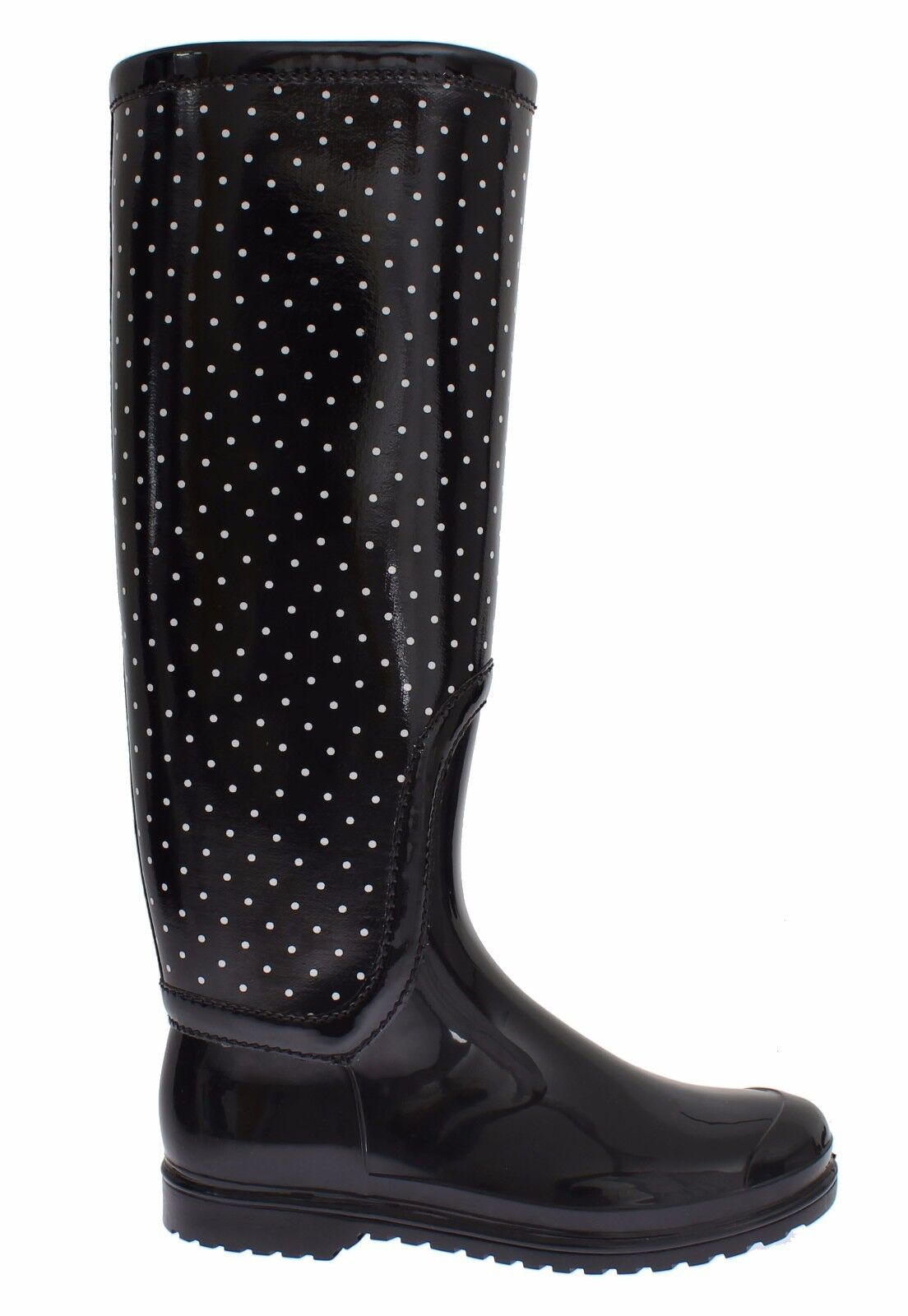 NWT DOLCE & GABBANA Boots Shoes Womens Black Polka Rubber Rain Knee EU40 / US9