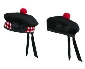b84a9213099 BALMORAL Bonnet Highland SCOTTISH BLACK   DICED 100% WOOL Piper HATS ...