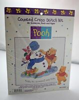 Mr. Snowman, Pooh And Piglet Disney Counted Cross Stitch Kit - 10 X 8.75