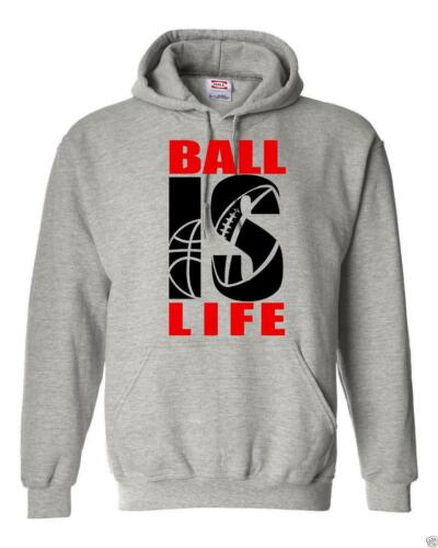 """NEW MEN PRINTED /""""BALL IS LIFE/"""" FUNNY Hooded Jacket Pullover Hoodie Sweat Shirt"""