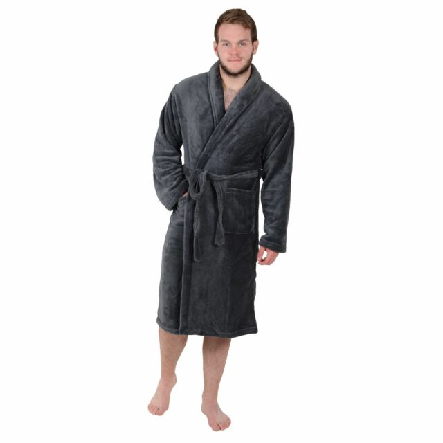 Mens Bath Robe Housecoat Dressing Gown in Super Soft Coral Fleece Size M L  XL Charcoal Grey (c) X-large for sale online  f8a7d1733
