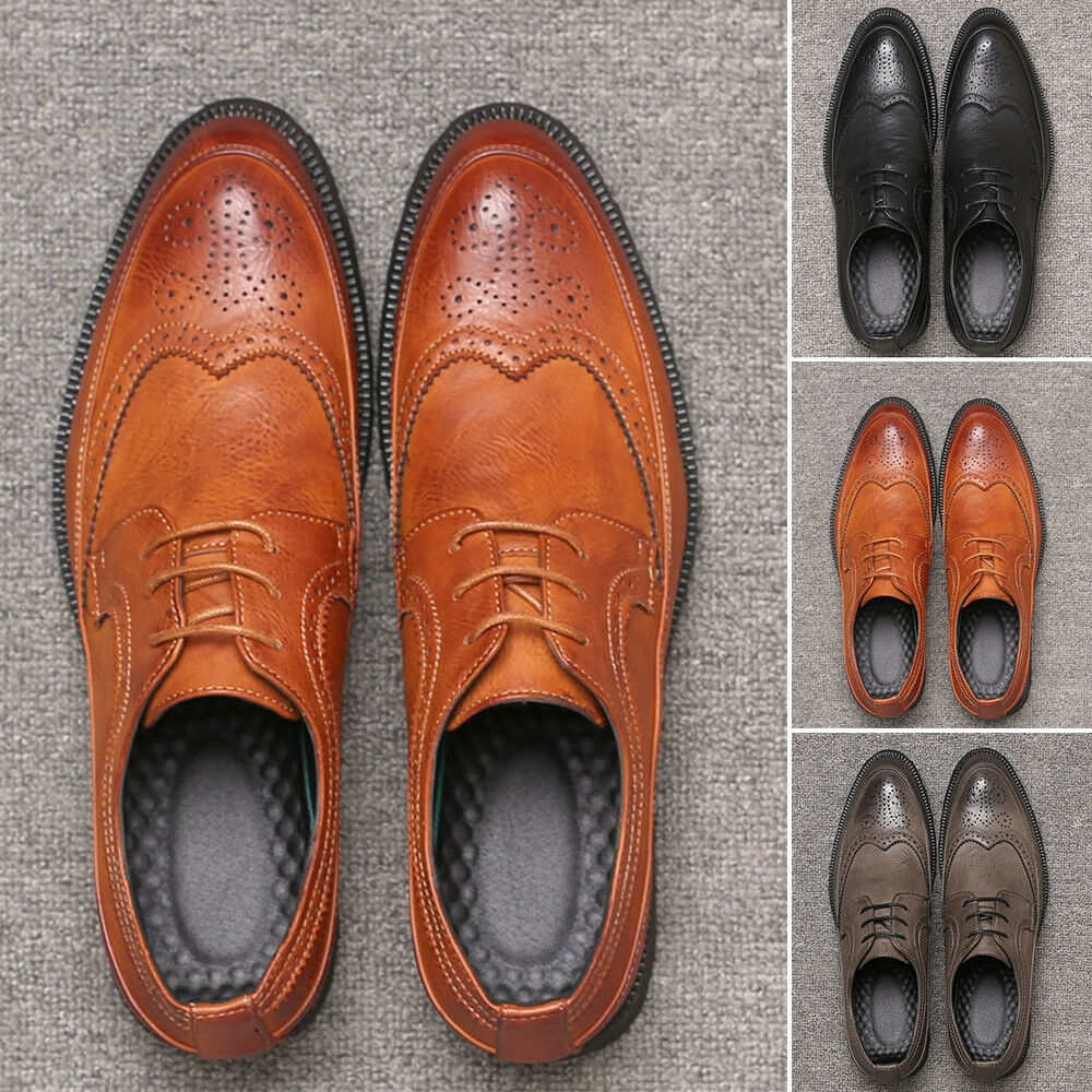 Men's Casual Leather shoes Business Wing Tip Dress shoes Lace Up Oxfords New Hot