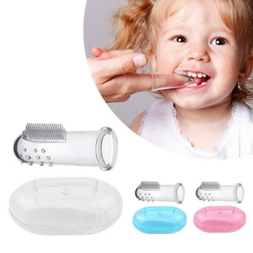Kids Baby Infant Soft Silicone Finger Toothbrush Teeth Rubber Massager Brush BW