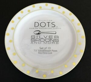 Image is loading NEW-SET-OF-TEN-DOTS-WHITE-PLASTIC-WITH- & NEW SET OF TEN DOTSWHITE PLASTIC WITH GOLD POLKA DOTS \u0026 TRIM 7.5 ...