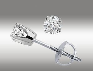 14k-White-Gold-Stud-Earrings-Round-Cut-20-Ct-With-Screw-Back-Pierced-New