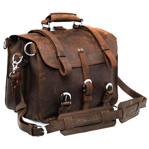 Men's Extra Large Saddle Leather Briefcase Messenger Laptop Handbag Backpack Bag