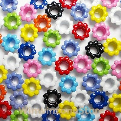 100 Pcs Mixed Colors Flower Aluminum Eyelet Card Hole Scrapbooking Leather Craft