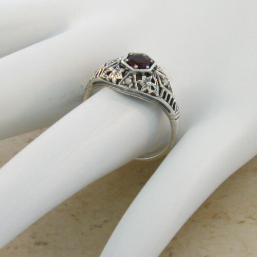ANTIQUE STYLE GENUINE GARNET AND PEARL .925 SILVER FILIGREE RING SIZE 8 #126