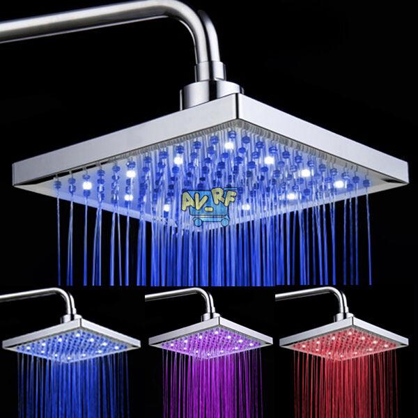"8"" LED Romantic Light Bright Bath Rain Bathroom Square Shower Head Home Water"