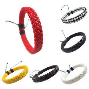 Fashion-Leather-Bracelet-Simple-Unisex-Hand-woven-Cuff-Bangle-Adjustable-Rope