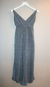Here-Comes-The-Sun-Brand-Navy-White-Striped-Wide-Leg-Jumpsuit-Size-10-AN02