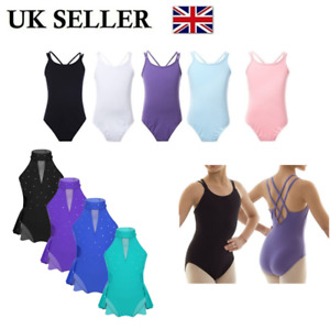UK-Kids-Girls-Gym-Ballet-Dance-Leotard-Dress-Sequins-Ballroom-Dancewear-Costume