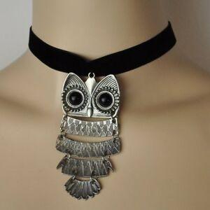 Choker-Halskette-Eule-Eulenkette-Uhu-Kauz-Samt-Kette-Kropfband-schwarz