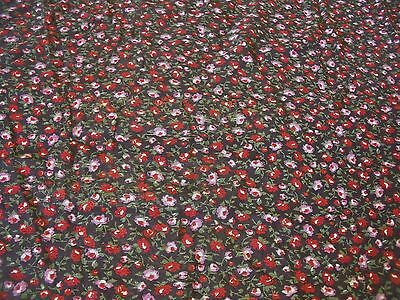 STRETCH  MESH-ALLOVER DITSY FLORAL PRINT-BLACK/WINE/GREEN-DRESS FABRIC-FREE P&PD