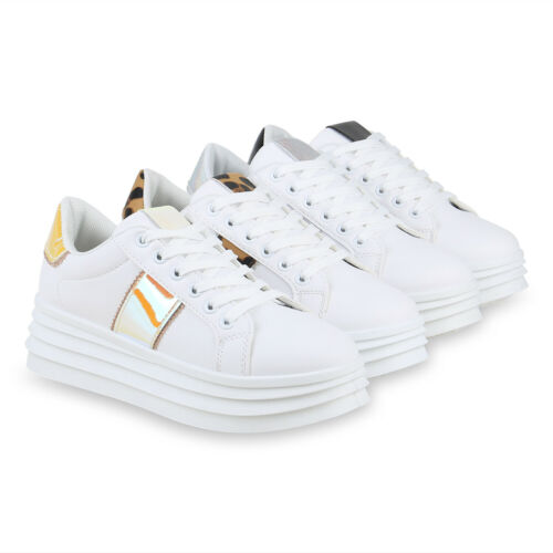 Damen Plateau Sneaker Metallic Turnschuhe Schnürer Plateauschuhe 826193 Schuhe