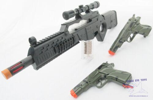 3x Toy Guns Electronic Special Forces Rifle w Sound 2x Camo 9MM Pistol Cap Gun