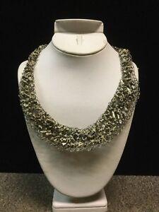 Bib necklace.Silver wire statement .
